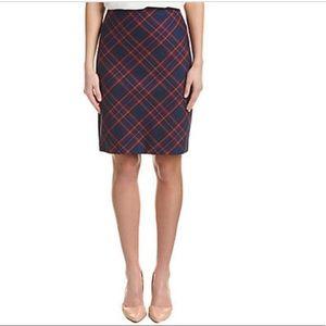 NWT Trina Turk Blue Plaid Pencil Skirt Size 2
